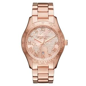 NWT Michael Kors rose gold world map glitz watch